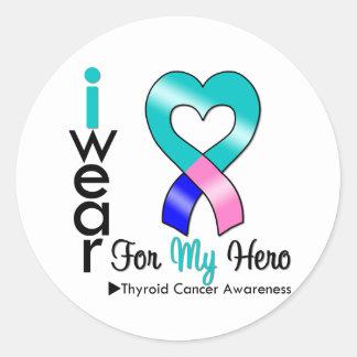 Thyroid Cancer Ribbon For My Hero Round Sticker
