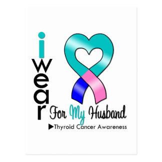 THYROID CANCER Ribbon For My Husband Postcard