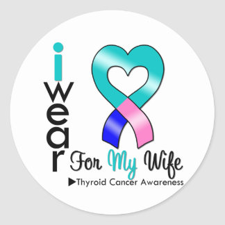 Thyroid Cancer Ribbon For My Wife Round Sticker