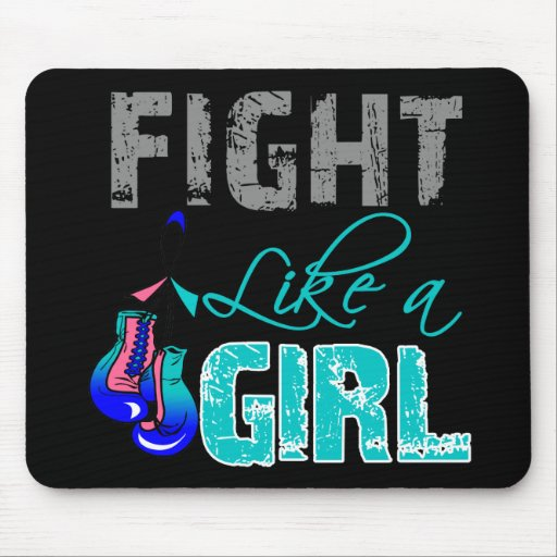 Thyroid Cancer Ribbon Gloves Fight Like a Girl Mouse Pad