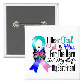 Thyroid Cancer Ribbon Hero My Best Friend Pinback Button