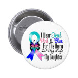 Thyroid Cancer Ribbon Hero My Daughter 2 Inch Round Button