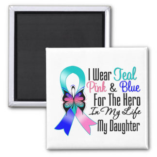 Thyroid Cancer Ribbon Hero My Daughter 2 Inch Square Magnet
