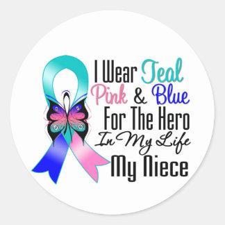 Thyroid Cancer Ribbon Hero My Niece Round Stickers