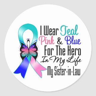 Thyroid Cancer Ribbon Hero My Sister in Law Round Stickers