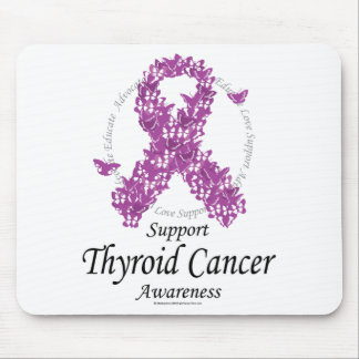 Thyroid Cancer Ribbon of Butterflies Mouse Pad