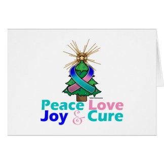 Thyroid Cancer Ribbon Xmas Peace Love, Joy & Cure Greeting Card