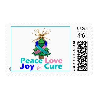 Thyroid Cancer Ribbon Xmas Peace Love Joy Cure Stamps
