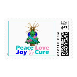 Thyroid Cancer Ribbon Xmas Peace Love, Joy & Cure Stamps