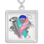 Thyroid Cancer - Screw Cancer Square Pendant Necklace