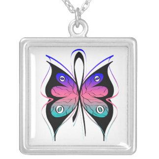 Thyroid Cancer Stylish Butterfly Awareness Ribbon Personalized Necklace