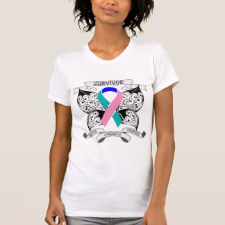 Thyroid Cancer Survivor Butterfly Strength Tshirts