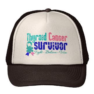 Thyroid Cancer Survivor Flower Ribbon Mesh Hats