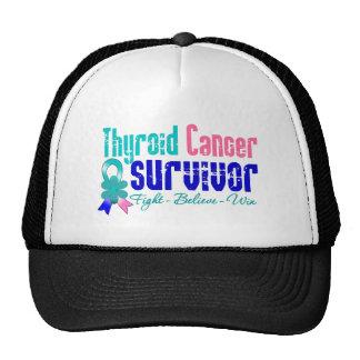 Thyroid Cancer Survivor Flower Ribbon Mesh Hat