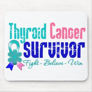 Thyroid Cancer Survivor Flower Ribbon Mouse Pads