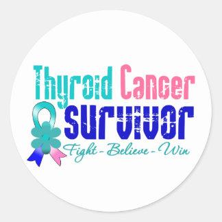 Thyroid Cancer Survivor Flower Ribbon Round Sticker