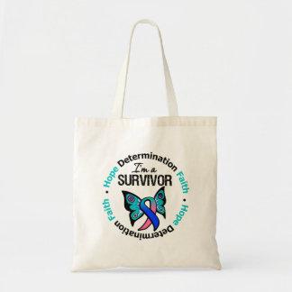 Thyroid Cancer Survivor Hope Determination Faith Tote Bag