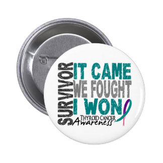 Thyroid Cancer Survivor It Came We Fought I Won Pinback Button