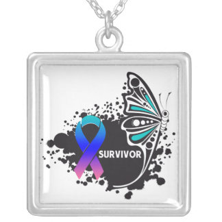 Thyroid Cancer Survivor Tattoo Butterfly Square Pendant Necklace