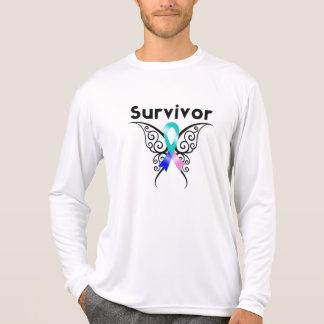 Thyroid Cancer Survivor Tribal Butterfly Tee Shirt