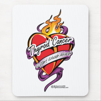 Thyroid Cancer Tattoo Heart Mouse Pad