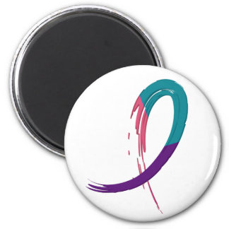 Thyroid Cancer Teal, Purple, And Pink Ribbon A4 2 Inch Round Magnet