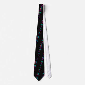 Thyroid Cancer Teal, Purple, And Pink Ribbon A4 Tie