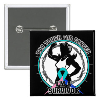 Thyroid Cancer Too Tough For Cancer 2 Inch Square Button