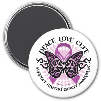 Thyroid Cancer Tribal Butterfly Magnet