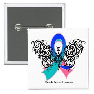 Thyroid Cancer Tribal Butterfly Ribbon Button