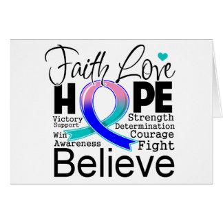 Thyroid Cancer Typographic Faith Love Hope Greeting Card