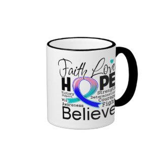 Thyroid Cancer Typographic Faith Love Hope Ringer Coffee Mug
