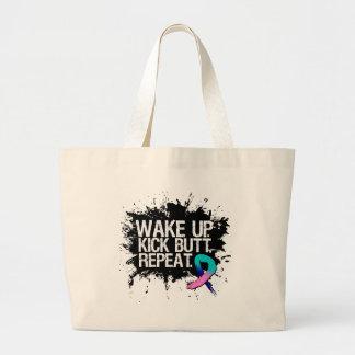 Thyroid Cancer Wake Up Kick Butt Repeat Jumbo Tote Bag