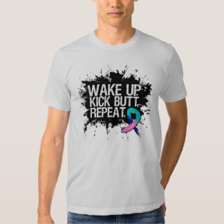 Thyroid Cancer Wake Up Kick Butt Repeat Shirt