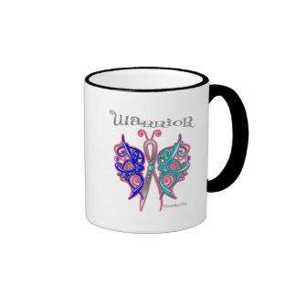 Thyroid Cancer Warrior Celtic Butterfly Ringer Coffee Mug