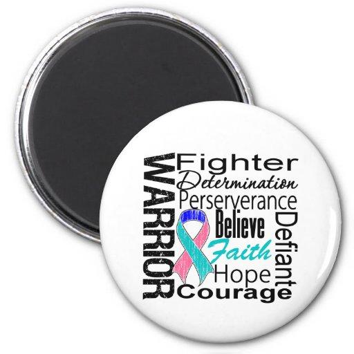 Thyroid Cancer Warrior Collage Fridge Magnets
