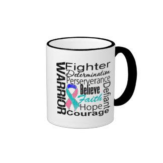 Thyroid Cancer Warrior Collage Ringer Mug