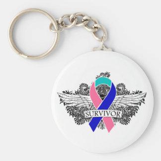 Thyroid Cancer Winged SURVIVOR Ribbon Basic Round Button Keychain