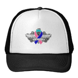 Thyroid Cancer Winged SURVIVOR Ribbon Mesh Hats