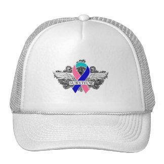 Thyroid Cancer Winged SURVIVOR Ribbon Trucker Hat