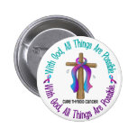 Thyroid Cancer WITH GOD CROSS Button