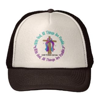 Thyroid Cancer WITH GOD CROSS Trucker Hat