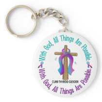 Thyroid Cancer WITH GOD CROSS Keychain