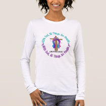 Thyroid Cancer WITH GOD CROSS Long Sleeve T-Shirt
