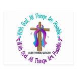Thyroid Cancer WITH GOD CROSS Post Cards