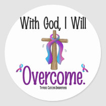 Thyroid Cancer With God I Will Overcome Classic Round Sticker