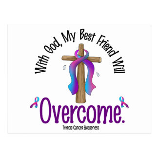 Thyroid Cancer With God My Best Friend Will Overco Postcard