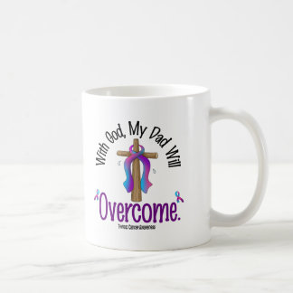 Thyroid Cancer With God My Dad Will Overcome Classic White Coffee Mug