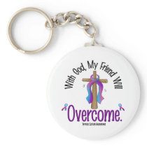 Thyroid Cancer With God My Friend Will Overcome Keychain