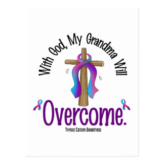 Thyroid Cancer With God My Grandma Will Overcome Postcard